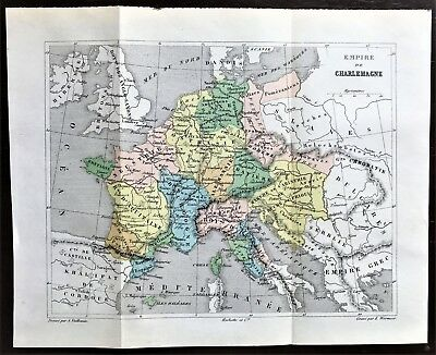 Original 1896 Color Map of FRANCE during the EMPIRE of CHARLEMAGNE ~ RARE