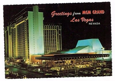 Vintage MGM GRAND Las Vegas POSTCARD Casino Hotel - OLD LOCATION Scalloped Edges