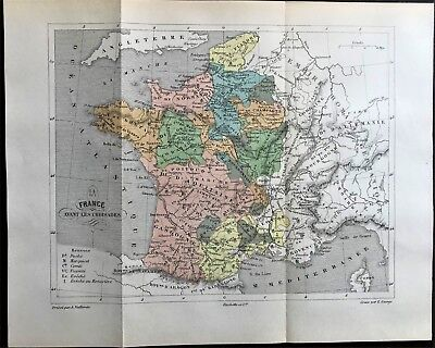 Original 1896 Color Antique Map of FRANCE during the CRUSADES 1095-1291  RARE