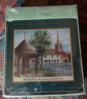 New Sealed Boxed Set of 6 DEBENHAMS Drink Cork Backed Coasters ENGLISH VILLAGE