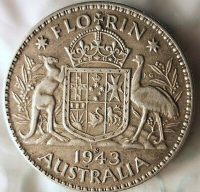 1943 AUSTRALIA FLORIN - EXCELLENT WW2 ERA Silver Coin - Lot #921