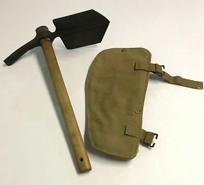 Original WWII 1942 Dated British Entrenching Tool w/1943 Dated Canvas Cover