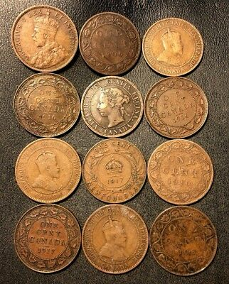 Old Canada Coin Lot - 1894-1917 - 12 Large Cents - Rare Coins - Lot #921