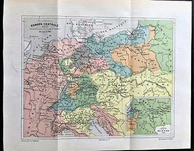 Original 1896 ~ Color Antique Map  of  CENTRAL EUROPE  during  1792- 1813