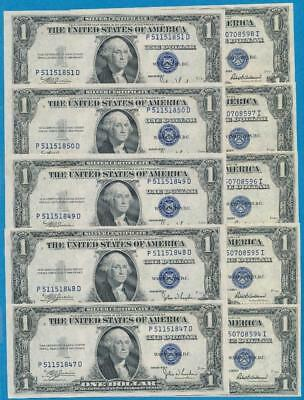 5-$1.00  1935-C + 5-1935-F Consecutive Blue Seal Silver Certificates Choice New