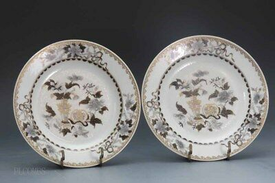 Chinese Qianlong Grisaille Export Pair Of Plates, Gilt Flowers, Objects #219 A B