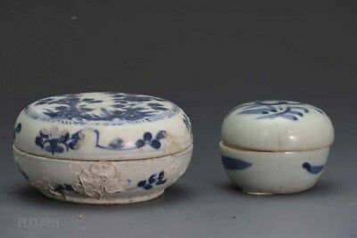 Chinese Ming Dynasty Blue and White Lot Of two Covered Boxes #380 #311