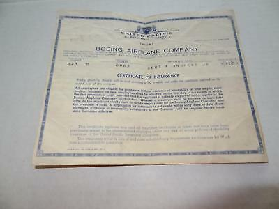 Very Nice Vintage Boeing Airplane Company,Certificate of Insurance, 9-01-50