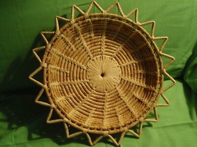 Vintage Hand Woven Grass Basket Wall Hanging