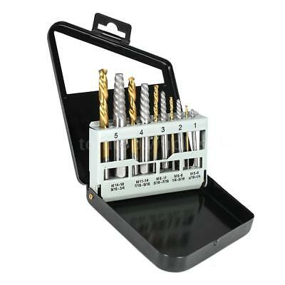 10pcs Screw Extractor Set Broken Bolt Remover Easy Out Left Hand Drill Bits T4W2