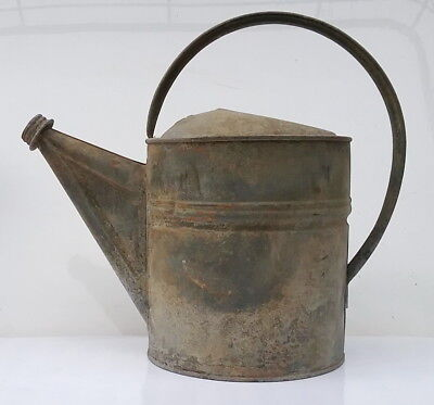 Antique No 6 Galvanized Tin Garden Water Can, Ready to Add a Sprinkle Head