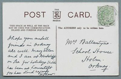 1910 Postcard sent to Miss Ballantyne, School House, Holm, Orkney