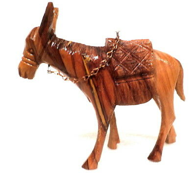 Intricately Hand Carved Wood Donkey