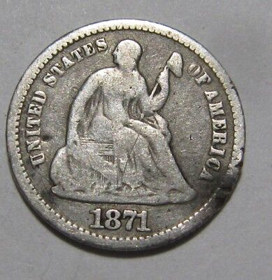1871 Seated Liberty Half Dime - Fine Details - 101FR
