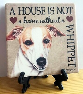 "Stone Coaster A HOUSE IS NOT A HOME  without a WHIPPET 4""x 4"" with Easel NIP"