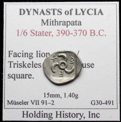 DYNASTS of LYCIA. Mithrapata. 390-370 BC AR Sixth Stater, Lion scalp / Triskeles