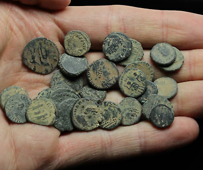 Lot of 25 good quality uncleaned ancient coins, sand patinas