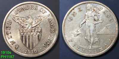 PHILIPPINES Peso 1910-S circulated silver coin from San Francisco Mint