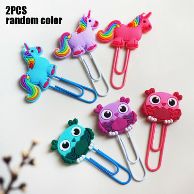 2x Cartoon Animal Unicorn Bookmarks Label Stationery Book Marker Note Clip Gift