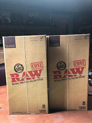 1400 Pack - RAW Classic KING Cones Authentic Pre-Rolled Cones w/ Filter