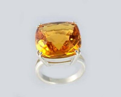 Handcrafted Bright Yellow Citrine Gem Ancient Celt Sunshine Amulet Silver Ring
