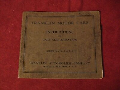 1914? Franklin Series 4 5 6 7 8 Owner's Operator's manual Book Booklet Guide Old