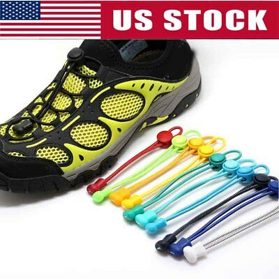 US No Tie Elastic Lock Lace System Lock Shoe Laces Shoelaces Runners Adults Kids