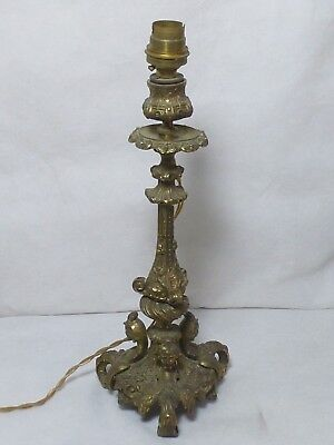 Stunning Vintage Brass Table Lamp with Lady Head & Eagle Wing Scroll Legs 32cm T