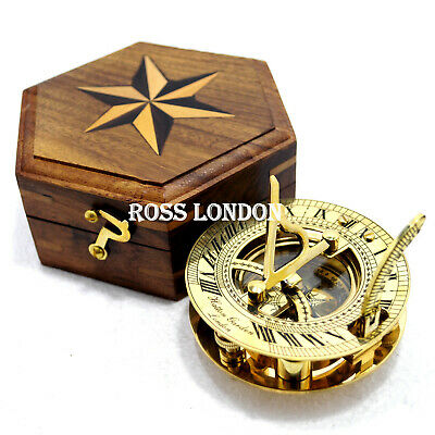"ROSS LONDON Vintage Marine WEST London Antique 2.5"" Brass Sundial Compass"