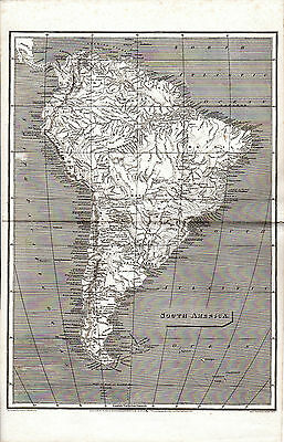 Antique Large Format  Copperplate Map Of South America -  J.russell (1800)