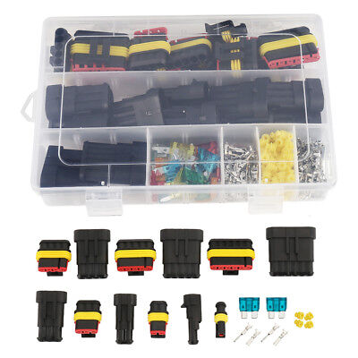 Waterproof Car Auto Electrical Wire Connector Plug Kit 1-6Pin Way &Blade Fuses