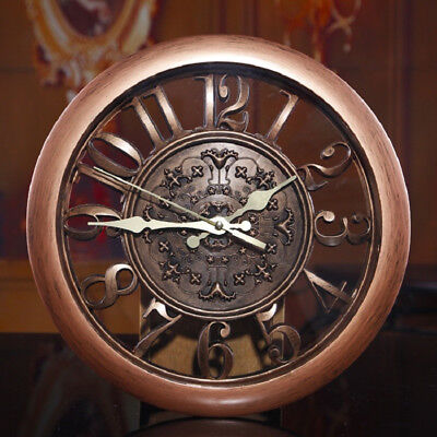 Clock Wall Vintage 3d Home Decor Gear Retro Antique Wooden Room Large Living Rom