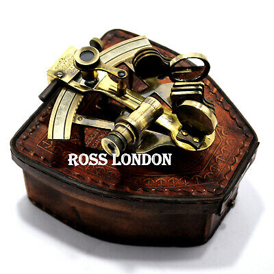 ROSS LONDON Antique Nautical Style Solid Brass Ship Sextant with Leather Box