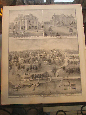 Vintage Page from the Historical Atlas of Wisconsin, 1878 Waukesha County lt8