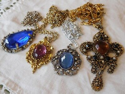 Four Lovely Vintage 1950s/60s Crystal Glass Cabochon Necklaces