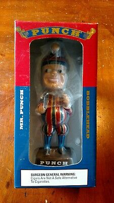 """Punch Cigar Promo 7"""" Bobblehead In Blue And Red Box Jester Punch And Judy"""