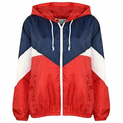 Kids Girls Boys Windbreaker Contrast Color Block Red Hooded Jacket Rainmac Coats