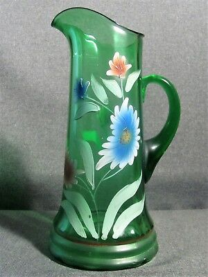 Northwood Green Tankard With Hand Painted Flowers