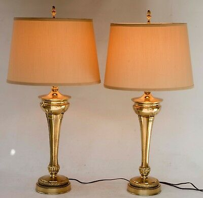 PAIR of Hollywood Regency STIFFEL Brass Lamps Mid-Century Neoclassical VGC