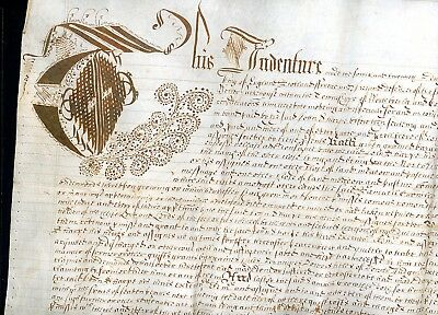 c.1700  Indenture Legal Document County of York     (O053)