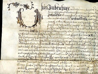 1661  King Charles of England Inventure/Legal Document  County of York   (O055)