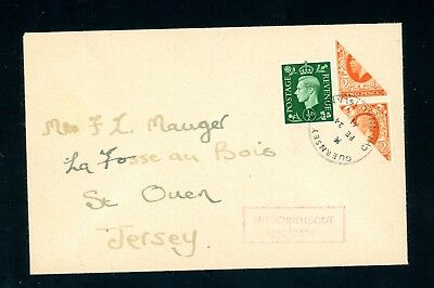 1941 Guernsey Occupation Bisect Cover to St Oven, Jersey Sold 'As Is'    (O061)