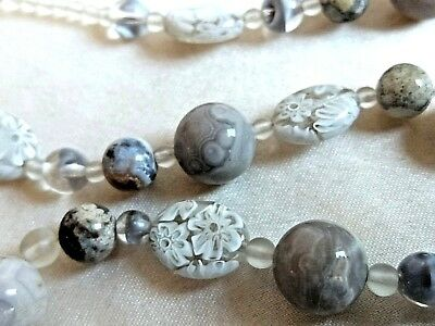 Fab etched rock crystal white Murano Millefiore glass Botswana Agate necklace