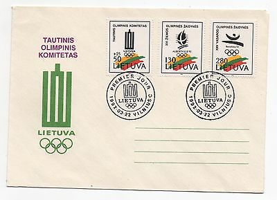 1992 LITHUANIA First Day Cover OLYMPICS Barcelona WINTER Albertville