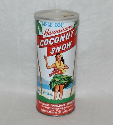 Vintage Mele-Koi Hawaiian COCONUT SNOW Unopened 10 oz. Can Tiki Bar Hula Girl