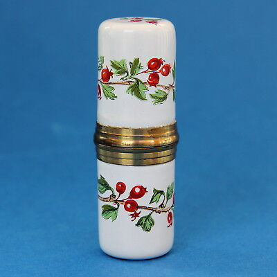Vintage Staffordshire Enamels Etui Needle Case Pill Box Hawthorn Berries