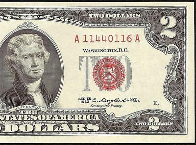 UNC 1963 $2 TWO DOLLAR BILL UNITED STATES LEGAL TENDER RED SEAL NOTE Fr 1513
