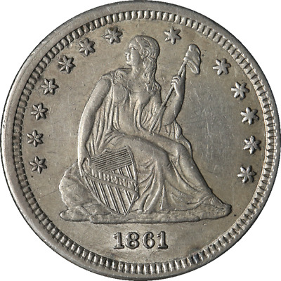 1861-P Seated Liberty Quarter Civil War Date Choice AU Great Eye Appeal