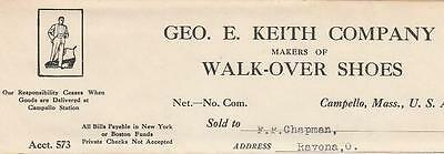 1909 Invoice George. E. Keith Co. Walk-Over Shoes Campello, Massachusetts