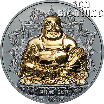 LAUGHING BUDDHA 2 oz Silver High Relief Proof Coin - 24k Gold Gilding 2017 PALAU